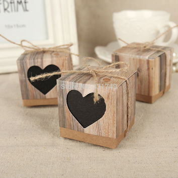 50pcs Black Love Rustic Wedding Favor Gift Boxes