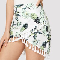 Fringe Pineapple Print Wrap Skirt