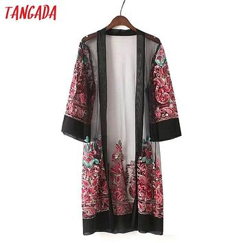 Tangada Fashion Women 2017 Summer Chiffon Kimono Floral Embroidery Long Jacket Coat Three Quarter Sleeve Cozy Coats YU1