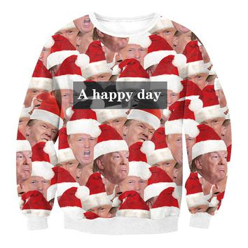 Funny Donald Trump Wearing Xmas Hat Print Ugly Christmas Sweatshirts for Women and Men Crewneck A Happy Day Pattern S-XL