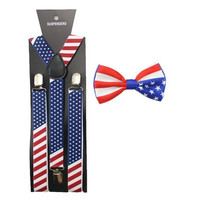 Men Women America USA Flag Braces Bowtie Set Adult Bow Tie & Suspender Set