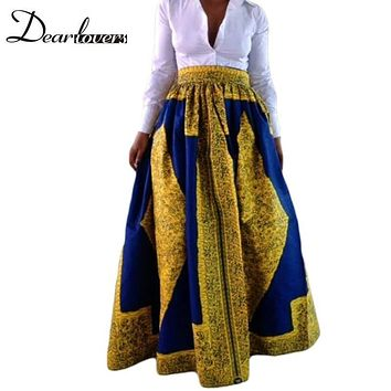 Dear lover Woman Skirt Spring 2017 Yellow Blue Long African Print Maxi Skirt  For Women Faldas Largas Estampadas 6Colors LC65008