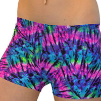 Colorful and Funky Neon Tie Dye Printed Volleyball Spandex Compression Short