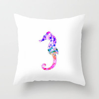 Summer Seahorse Throw Pillow by M✿nika  Strigel	 | Society6