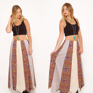 Vintage 70s LACE & Paisley PATCHWORK Skirt Hippie Maxi Skirt Mixed Print Boho Skirt Lord and Taylor Skirt