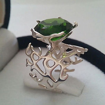 Silver Emerald Ring, Green Emerald Statement Ring, Inspired Emerald Ring,Silver Statement Ring,