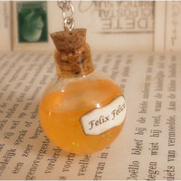 Felix Felicis in glass vial necklace - harry potter jewelry - silver plated chain