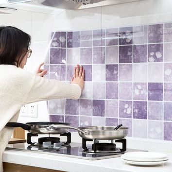 Wallpapers Youman Self-adhesive PVC Anti-oil Stickers Kitchen High-temperature Tile Stove Waterproof Paste Stickers Wallpaper
