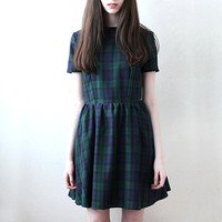 Hannah Fitted Skater Dress in Tartan Navy and Green by Mod Dolly
