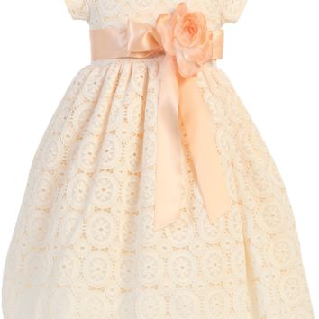 Peach Lace Tulle Overlay Satin Spring Dress with Satin Sash (Toddler & Little Girls Sizes)