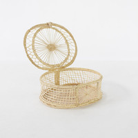 Vintage Woven Straw Oval Keepsake Basket