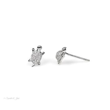 Sterling Silver Dainty Micro Pave CZ Turtle Earrings