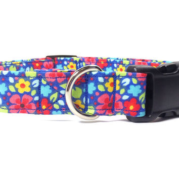 Paint Daisies on Royal Blue, Durable Fabric Dog Collar, XS, S, M, L, XL