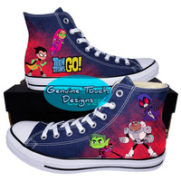 Custom Converse, Teen Titans Go!, Robin, Starfire, Cyborg, Raven, Beast Boy,  Custom chucks, painted shoes, personalized converse hi tops