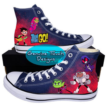 Custom converse teen titans go robin from genuine touch