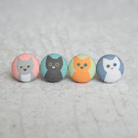Cat Lady Mix and Match Fabric Covered Button Earrings