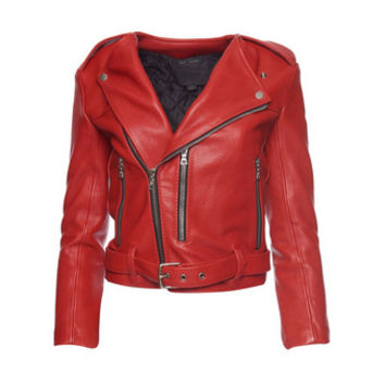 Marc Jacobs Cropped Leather Moto Jacket - Marc Jacobs