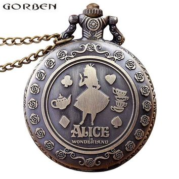 Retro Vintage Alice In Wonderland Quartz Pocket Watch Necklace for Women Men Fob Chain Pendant Children's Gift reloj regarder