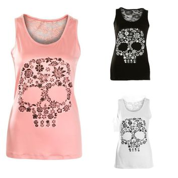 Skull Print T Shirt Summer Elegant Women Sexy Lace Hollow Out Black Pink White Sleeveless Tank Tops