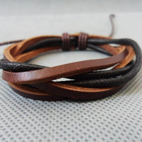 bangle leather bracelet ropes bracelet woven bracelet men bracelet women bracelet made of  leather and ropes woven cuff  1SZ-LH-182