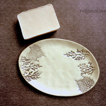Ceramic - Soap - Dish, Classic, Romantic Victorian style, Wild Flowers, Sepia, oval, free hand form ceramics, Shabby Chic Style, Rustic