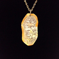 Tan and white quartz crystal geode slice natural stone pendant necklace