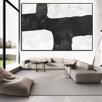 large abstract painting, Large wall Art, modern wall art, large Aclylic Painting On Canvas Minimalist Art, Black and white painting wall art