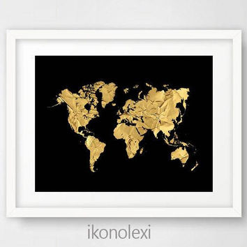 Chic Gold World Map, Black World Map, World Map Poster, Gold Map World, World Map Art Print, Black and Gold Home Decor, Bedroom Wall Art