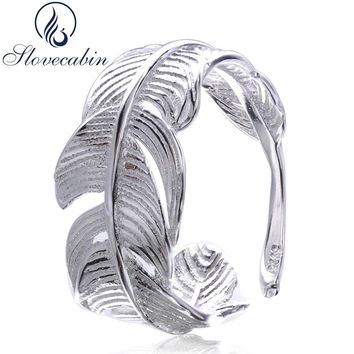 Slovecabin Antique 925 Sterling Silver Resizable Wedding Feather Rings For Women Sterling Silver Jewelry Engagement Female Rings