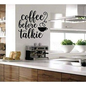 Coffee Before Talkie, Removable Wall Art Vinyl Graphic Decal - Home Decor Vinyl Mural