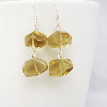 Quartz Earrings, Yellow Quartz Earrings, Free Form Quartz Earrings, Handmade Earrings, Gemstone Earrings