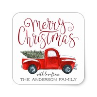 Coordinating Christmas Sticker - Vintage Red Truck
