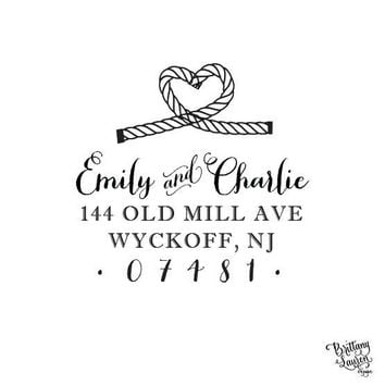 """Nautical Personalized Custom Return Address Rubber Stamp or Self Inking - 2""""x2"""" - Nautical Heart Rope Knot"""