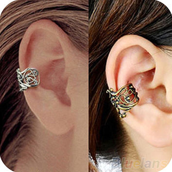 New Fashion Punk Hollow out Engraving Ladie Ear Cuff Clip Earrings 2 Colors Hot Sale 00HK