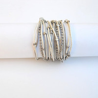 Two-in-one - Wrapped bracelet or necklace. White round leather & nickel chains and beads