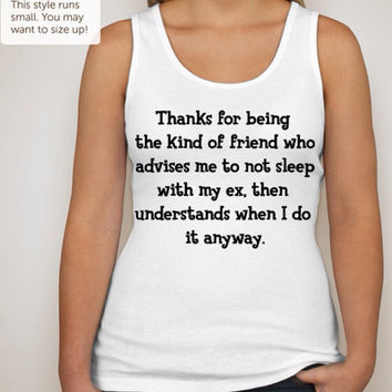 Thanks Best Friend Bella tank top available in an array of junior fit sizes for women and teens.