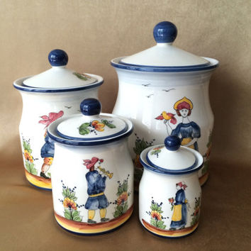 Canister Set, Ceramic, J Willfred Canisters, Portuguese Ceramics, Charles Sadek Import, Kitchen Containers, Farmhouse Kitchen White and Blue
