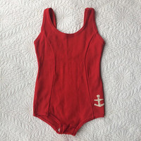1950's Kid's Bathing Suit ~ Red Swimsuit ~ Anchor ~ Nautical Beach Wear ~ Children's Size 6 ~ 50's Vintage