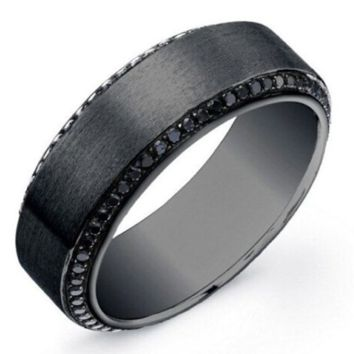 1.40ct BLACK Round Diamond Men's Wedding Ring 14kt JEWELFORME BLUE