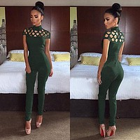 Women Fashion  Casual Short Sleeve Jumpsuits Bodysuit Romper Jumpsuit Long Pants