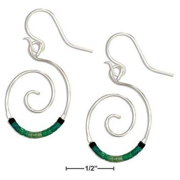 Sterling Silver Earrings:  Round Spiral Dangle Earrings With Green Glass Seed Beads
