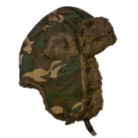 Ruff Hewn Mens Brown & Green Cammo Trapper Hat with Faux Fur Trim