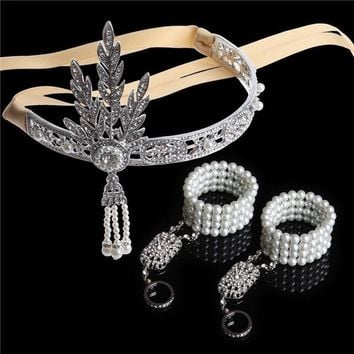 3PCS 1920s Vintage Great Gatsby Headband Hair Accessories Crystal Pearl Tassels Band Hair Jewelry Wedding Bridal Tiara Headpiece