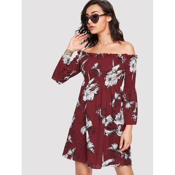 Allover Floral Print Ruched Detail Dress Burgundy