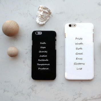 Seven Deadly Sins Phone Couple Hard PC Case For iPhone 6/6s and iPhone 6/6s Plus in White/Black Pride & Faith