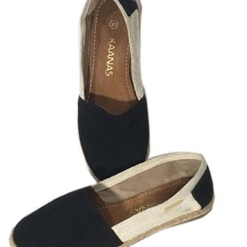 Kaanas Espadrilles Shoes Slip On Loafers Black Tan Flats Womens US Size 5 EU 35 - Preowned