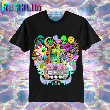 UNISEX Reblog 90s Kawaii Seapunk Tumblr T-Shirt in Black // Pastel Grunge // Sailor Moon x Zelda // fASHLIN