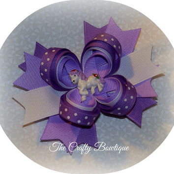 Purple Pony Layered Bow with Spikes, Purple & White Hair Bow, Headband Bow, Big Girls Bow, Baby Toddler Hair Bow, Spiked Hair Bow