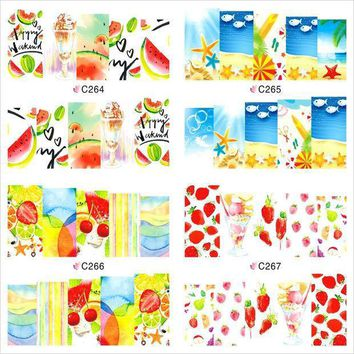 12 Sheet Summer Fruit Flower Watermark Beauty Nail Art Tips Sticker Full Wraps Water Transfer Stickers Decals For Nails Jh369