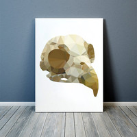 Colorful decor Bird skull poster Modern art Anatomy print TOA91